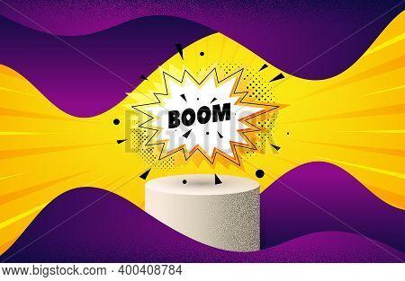 Boom Sale Sticker. Background With Podium Platform. Discount Banner Shape. Coupon Bubble Icon. Dotte
