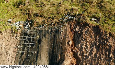 Protection Of Road From Mountain Slough, Rockfall With Metal Accumulative Restraining Net Fences. Wo