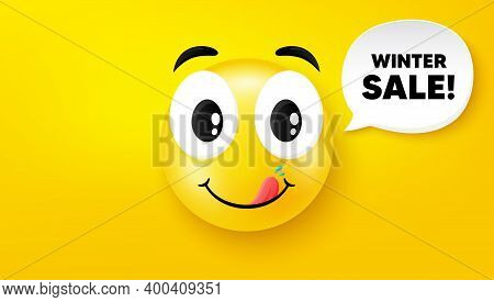 Winter Sale. Yummy Smile Face With Speech Bubble. Special Offer Price Sign. Advertising Discounts Sy