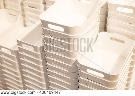 White Plastic Containers.stacked Empty Plastic Box.folded Plastic Containers At Store.recycling