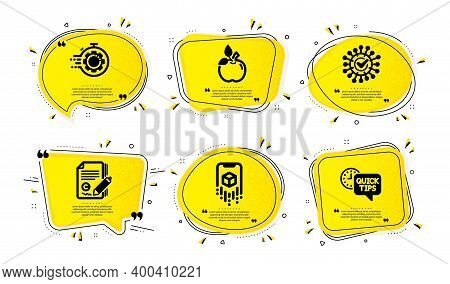 Seo Timer, Eco Food And Coronavirus Icons Simple Set. Yellow Speech Bubbles With Dotwork Effect. Cop