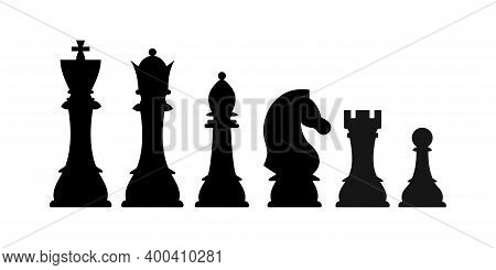 Chess Pieces Silhouette Vector Icon Set Isolated On White Background. Black Chess Figures King, Quee