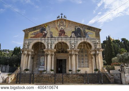 Jerusalem, Israel - December 17th, 2020: The Facade Of The Gethsemane Church At The Bottom Of The Mo