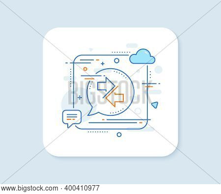 Synchronize Arrows Line Icon. Abstract Square Vector Button. Communication Arrowheads Symbol. Naviga