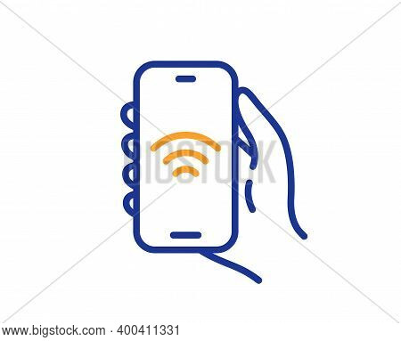 Internet App Line Icon. Hand Hold Phone Sign. Cellphone With Screen Notification Symbol. Quality Des