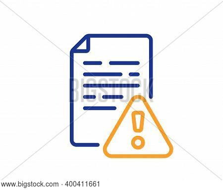 Instruction Manual Line Icon. Warning File Sign. Caution Alert Symbol. Quality Design Element. Line