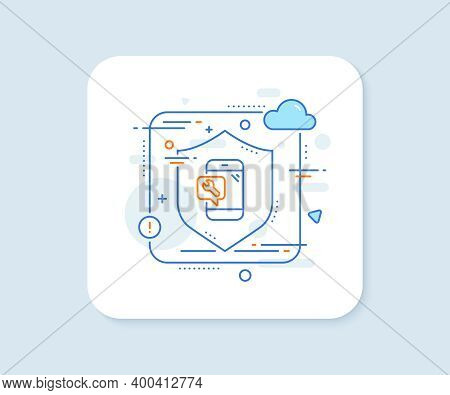 Spanner Tool Line Icon. Abstract Vector Button. Phone Repair Service Sign. Fix Instruments Symbol. P