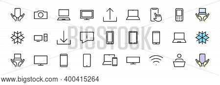 Smart Devices And Gadgets Linear Icons Set, Vector, Contains Icons Computer, Camera, Laptop, Phone,