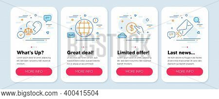 Set Of Business Icons, Such As Payment, Globe, Divorce Lawyer Symbols. Mobile Screen Banners. E-mail