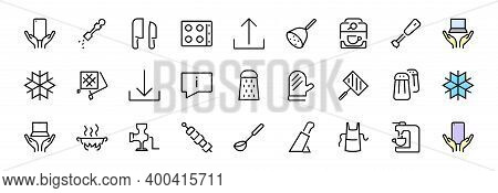 Kitchen Icon Cooking Process, Kitchen Tools, Icon Set, Thin Line Vector Has A Blender, Oven, Knife,