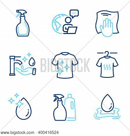 Cleaning Icons Set. Included Icon As Washing Hands, Water Drop, Clean T-shirt Signs. Spray, Washing