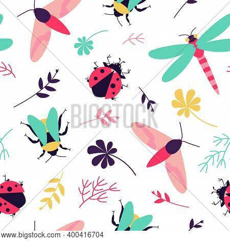 Seamless Pattern With Insects - Butterfly, Bumblebee, Dragonfly, Ladybug And Floral Motifs. Colorful