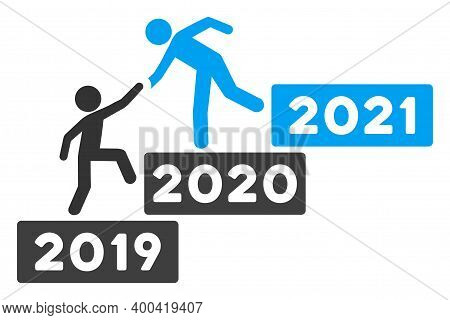 Vector 2021 Buisiness Training Stairs Illustration. An Isolated Illustration On A White Background.