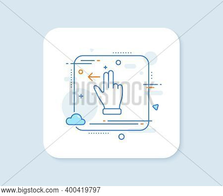 Touchscreen Gesture Line Icon. Abstract Square Vector Button. Slide Left Arrow Sign. Swipe Action Sy