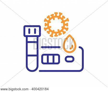 Covid Test Line Icon. Coronavirus Testing Sign. Blood Test Tube Symbol. Quality Design Element. Line
