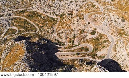 Mallorca, Serra De Tramuntana, Mountain Peeks And Road The Knotted Tie - Nudo De Corbata, World Heri