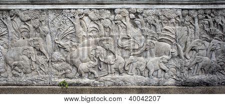 Elephants Bas-relief