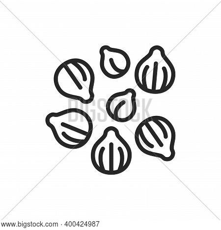 Coriander Black Line Icon. , Seasoning. Vector Illustration