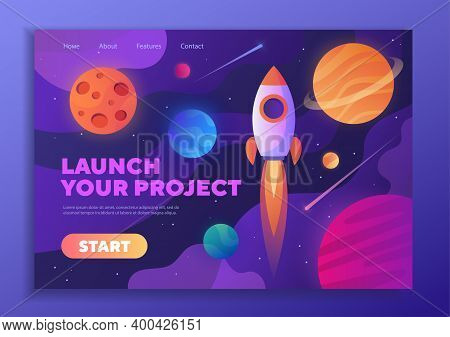 Colorful Web Template - Launch Your Project With A Rocket Zooming Through Space Past Planets And Cop