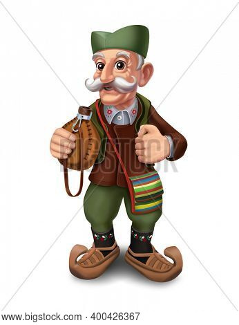 Freehand illustration of an old man dressed in traditional Serbian costume. An old Serb with a flask in his hand.