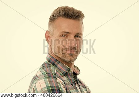Happy To Be Bearded. Bearded Man Isolated On White. Unshaven Guy With Bearded Face. Barbershop. Hair