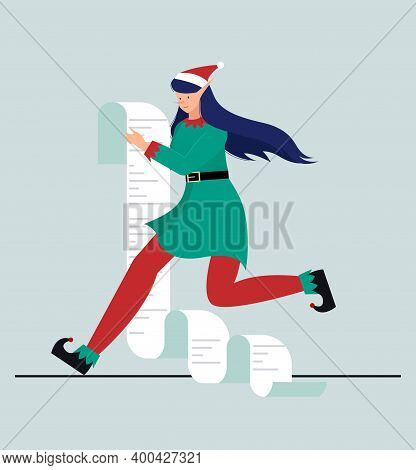 Vector Illustration Of A Running Elf With A List Of Gifts. Winter Design Of An Elf Girl Running With