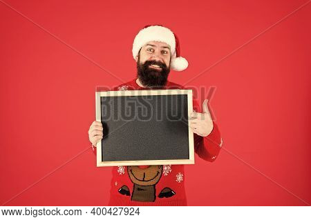 Your Advertising Gets Thumbs Up. Happy Santa Hold Advertising Board. Bearded Man Advertising Product