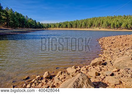 View From The Rocky Shoreline Of A Lagoon On The Southwest Side Of Dogtown Lake Near Williams Arizon