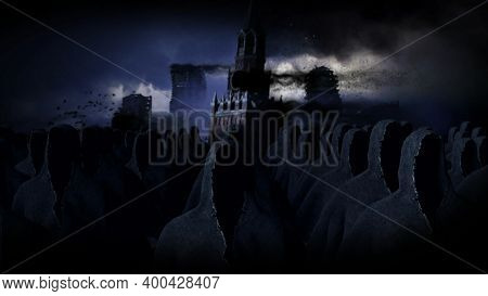 Apocalypse Moscow City In Fog. Destroyed City. Apocalypse Concept. 3d Rendering.