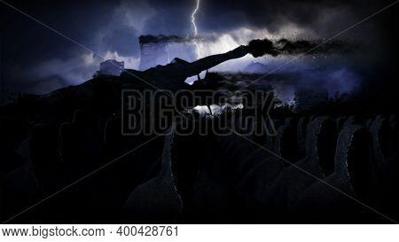Apocalypse Usa. Destroyed City. Apocalypse Concept. 3d Rendering.