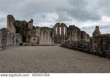 Stony Courtyard In Ruins Of Kildrummy Castle In Aberdeenshire, Scotland, Uk