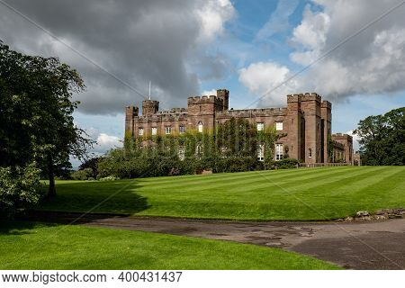 Scone Palace, The Red Sandstone Brick Castle In Perthshire, Scotland At Nice Sunny Summer Weather