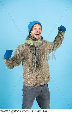 Man Enjoy Winter Activity. Fashion Model In Winter Clothes. Winter Fashion And Style. Physical Activ