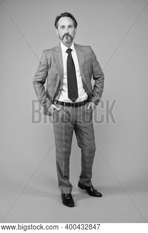 Lawyer Does It Legally. Senior Lawyer Grey Background. Consult Lawyer In Formal Style. Legal Adviser