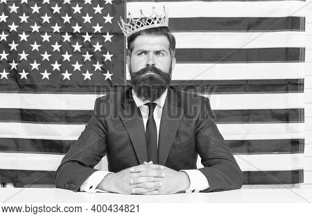 King Of Liberty. Bearded Man Usa Parliament Representative. Patriotic Spirit. Selfish Male In Suit W