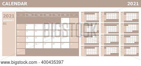 Calendar 2021 Week Start Sunday Corporate Design Planner Template, Stock Vector