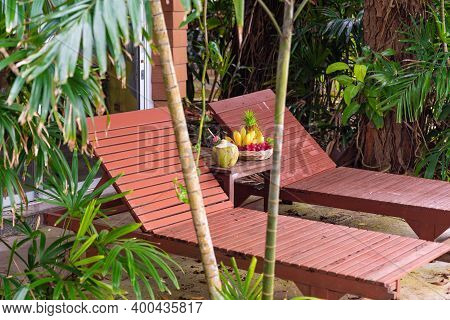 Deck Chair On The Beach On Koh Samui In Thailand, Paradise, Sunny Beach, Coconuts And Palm Trees, Ex