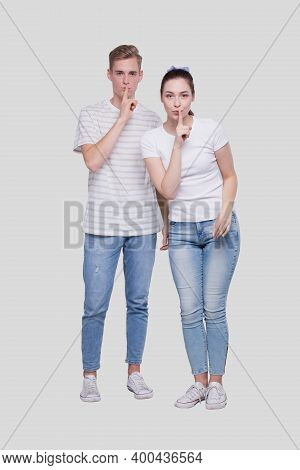 Couple Silence Sign. Couple Shush. Couple Standing Isolated