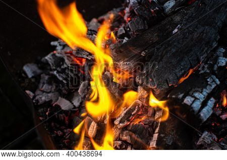 Burning Firewood In The Fireplace, Relaxation Image