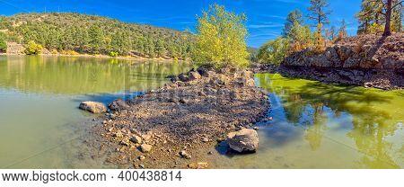 A Green Algae Filled Lagoon In The Santa Fe Reservoir In Williams Arizona.