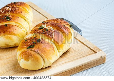 Bakery Salty And Buteco. Potato Bread With Ham And Mozzarella Cheese Filling. Brazilian Snack (pão D