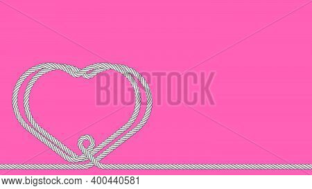 Two Hearts Connected, Woven Together By One Line From Rope On Pink Background. Strong Relationships.