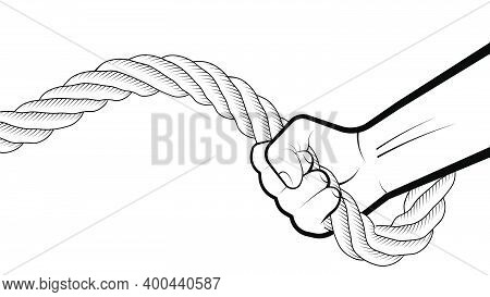 Strong Male Hand Of Athlete Is Engaged With Thick Twisted Rope. Development Of Endurance And Strengt
