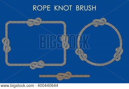 Rope Sea Knot Made Of Double Rope. Rope For Fastening On Ships. Element For Design And Decoration. V