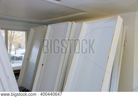 Interior Wooden Stacker Door Installation, Apartment Building, A Wait Installation For Preparation O