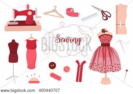 Collection Of Sewing Tools, Needles, Threads, Manikin, Sewing Machine, Hanger, Measuring Tape. Handi