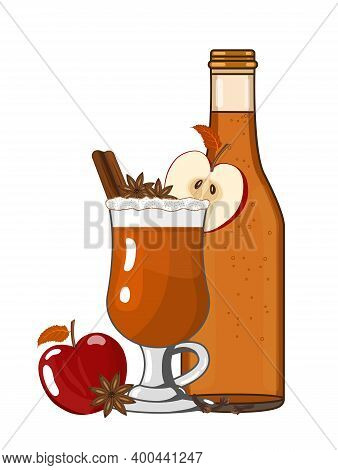 Hot Mulled Apple Cider Ale Or Punch Ready To Drink. Winter Warming Cocktail. Vector Illustration Of