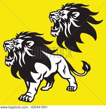 Lion Roaring Head Stand Stance Esport Mascot Vector Logo Pack Set Collection