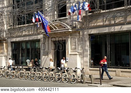 Paris, France - June 08, 2013: Parking For Bicycles Near The Building Of The French Ministry Of Cult