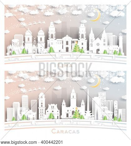 Caracas Venezuela and Lima Peru City Skyline Set in Paper Cut Style with Snowflakes, Moon and Neon Garland.